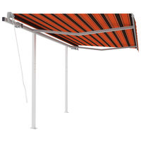 vidaXL Τέντα Συρόμενη Αυτόματη με Στύλους Πορτοκαλί/Καφέ 3,5 x 2,5 μ.