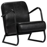 vidaXL Πολυθρόνα Relax Μαύρη από Γνήσιο Δέρμα