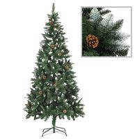 vidaXL Χριστουγεννιάτικο Δέντρο 210 εκ. με Κουκουνάρια/Λευκό Γκλίτερ