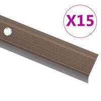 vidaXL Προφίλ για Σκαλοπάτια Σχήμα Γ 15 τεμ. Καφέ 134 εκ. Αλουμινίου