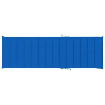vidaXL Ξαπλώστρα από Εμποτισμένο Ξύλο Πεύκου με Μπλε Ρουά Μαξιλάρι