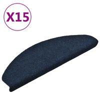 vidaXL Πατάκια Σκάλας Αυτοκόλ. 15 τεμ Ν. Μπλε 65x21x4 εκ Βελονιασμένο