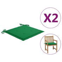 vidaXL Μαξιλάρια Καρέκλας Κήπου 2 τεμ. Πράσινα 50 x 50 x 4 εκ.
