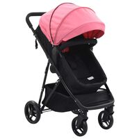 vidaXL Καροτσάκι Παιδικό/Πορτ-Μπεμπέ 2 σε 1 Ροζ και Μαύρο Ατσάλινο
