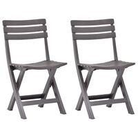 vidaXL Καρέκλες Κήπου Πτυσσόμενες 2 τεμ. Μόκα Πλαστικές