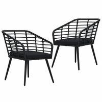 vidaXL Καρέκλες Εξωτερ. Χώρου 2 τεμ. Μαύρες Συνθ. Ρατάν με Μαξιλάρια