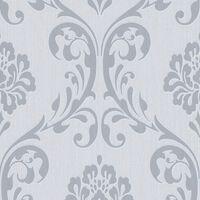 vidaXL Non Woven Ρολά Ταπετσαρίας Ornament 4 τεμ. Λευκά 0,53 x 10 μ.