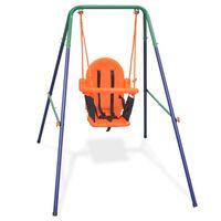 vidaXL Κούνια για Μωρά Πορτοκαλί με Ιμάντα Ασφαλείας