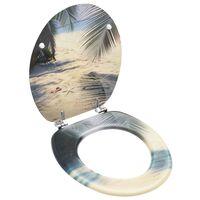 vidaXL Κάλυμμα Λεκάνης με Καπάκι Σχέδιο Παραλία από MDF