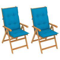 vidaXL Καρέκλες Κήπου 2 τεμ. από Μασίφ Ξύλο Teak με Μπλε Μαξιλάρια
