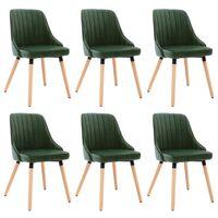 vidaXL Καρέκλες Τραπεζαρίας 6 τεμ. Σκούρο Πράσινο Βελούδινες