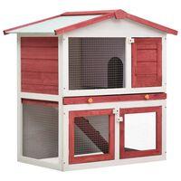 vidaXL Κλουβί Κουνελιών Εξωτερικού Χώρου με 3 Πόρτες Κόκκινο Ξύλινο