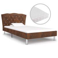 vidaXL Κρεβάτι Καφέ 90 x 200 εκ. Υφασμάτινο με Στρώμα