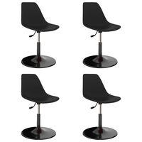 vidaXL Καρέκλες Τραπεζαρίας Περιστρεφόμενες 4 τεμ. Μαύρες PP