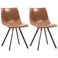 vidaXL Καρέκλες Τραπεζαρίας 2 τεμ. Χρώμα Κονιάκ από Συνθετικό Δέρμα