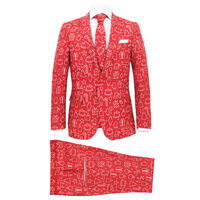 vidaXL Κοστούμι Ανδρικό Χριστουγεννιάτικο 2 τεμ. Κόκκινο 46 με Γραβάτα