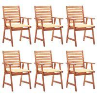 vidaXL Καρέκλες Τραπεζαρίας Εξ. Χώρου 6 τεμ. Ξύλο Ακακίας με Μαξιλάρια