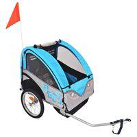 vidaXL Τρέιλερ Ποδηλάτου Παιδιών Γκρι / Μπλε 30 κ.