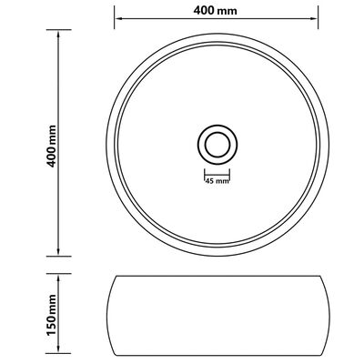 vidaXL Νιπτήρας Πολυτελής Στρογγυλός Κρεμ Ματ 40 x 15 εκ. Κεραμικός