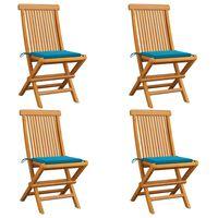 vidaXL Καρέκλες Κήπου 4 τεμ. από Μασίφ Ξύλο Teak με Μπλε Μαξιλάρια