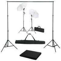 vidaXL Κιτ Στούντιο Φωτογράφισης με Φόντο, Λαμπτήρες και Ομπρέλες