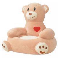 vidaXL Πολυθρόνα Παιδική Αρκούδα Καφέ Λούτρινη