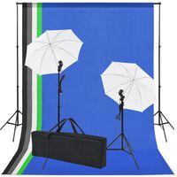 vidaXL Κιτ Στούντιο Φωτογράφισης: 5 Χρωματιστά Φόντα & 2 Ομπρέλες