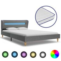 vidaXL Κρεβάτι με LED Αν. Γκρι 120 x 200 εκ. Υφασμάτινο + Στρώμα Αφρού
