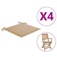 vidaXL Μαξιλάρια Καρέκλας Κήπου 4 τεμ. Μπεζ 40 x 40 x 4 εκ.