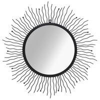 vidaXL Καθρέφτης Τοίχου Ήλιος Μαύρος 80 εκ.