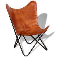 vidaXL Καρέκλα Πεταλούδα Καφέ από Γνήσιο Δέρμα