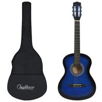 vidaXL Κλασική Κιθάρα για Αρχάριους Μπλε 3/4 36'' με Θήκη