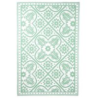 Esschert Design Χαλί Εξ Χώρου 182x122 εκ Σχέδιο Πλακάκια Πράσινο/Λευκό