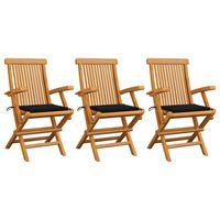 vidaXL Καρέκλες Κήπου 3 τεμ. από Μασίφ Ξύλο Teak με Μαύρα Μαξιλάρια