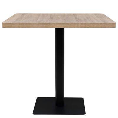 vidaXL Τραπέζι Bistro Τετράγωνο Χρώμα Δρυός 80x80x75 εκ. MDF/Ατσάλι