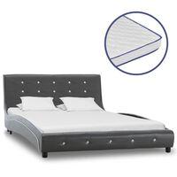 vidaXL Κρεβάτι Γκρι 120x200 εκ. από Δερματίνη με Στρώμα Αφρού Μνήμης