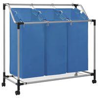 vidaXL Καλάθι Διαχωρισμού Απλύτων με 3 Σάκους Μπλε από Ατσάλι