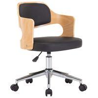 vidaXL Καρέκλα Γραφείου Περιστρεφόμενη Μαύρη Λυγισ. Ξύλο/Συνθετ. Δέρμα