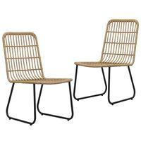 vidaXL Καρέκλες Κήπου 2 τεμ. Χρώμα Δρυός από Συνθετικό Ρατάν