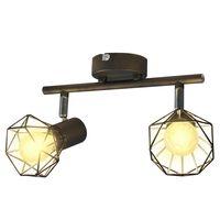 Φωτιστικό Σποτ Ράγα Βιομηχανικό Στυλ Μαύρο με 2 Λαμπτήρες LED Filament