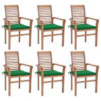 vidaXL Dining Chairs 6 pcs with Green Cushions Solid Teak Wood (44664+44665+314013)