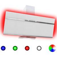 vidaXL Απορροφητήρας Τοίχου RGB LED 90 εκ. Ανοξ. Ατσάλι & Ψημένο Γυαλί