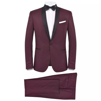 vidaXL Κοστούμι Ανδρικό Black Tie/Σμόκιν 2 Τεμαχίων Μπορντό Μέγεθος 50