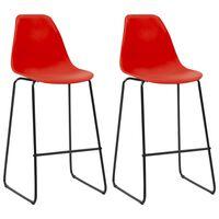vidaXL Καρέκλες Μπαρ 2 τεμ. Κόκκινες Πλαστικές