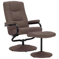 vidaXL Πολυθρόνα Ανακλινόμενη Καφέ Υφασμάτινη με Υποπόδιο