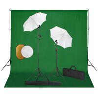 vidaXL Κιτ Φωτογραφικού Στούντιο Λάμπες, Ομπρέλες, Φόντο & Ανακλαστήρα