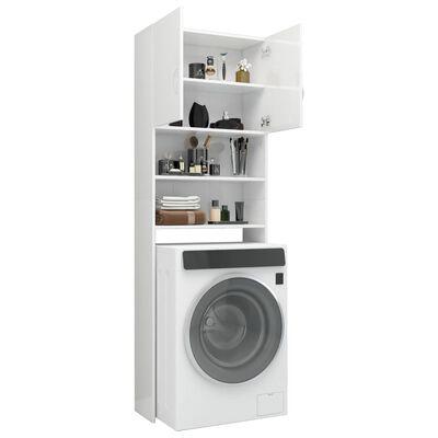 vidaXL Ντουλάπι Πλυντηρίου Γυαλιστερό Λευκό 64x25,5x190 εκ Μοριοσανίδα