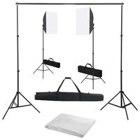 vidaXL Κιτ Φωτισμού Φωτογραφικού Στούντιο με Softbox και Φόντο