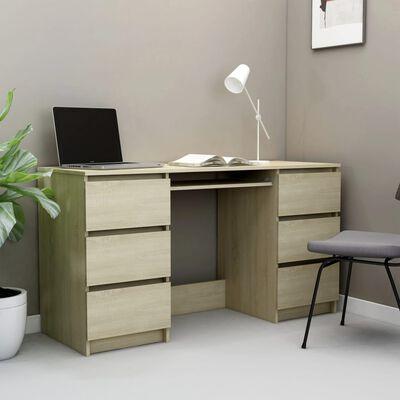 vidaXL Γραφείο Sonoma Δρυς 140 x 50 x 77 εκ. από Μοριοσανίδα