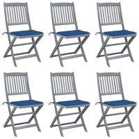 vidaXL Καρέκλες Εξ. Χώρου Πτυσσόμενες 6 τεμ. Ξύλο Ακακίας & Μαξιλάρια